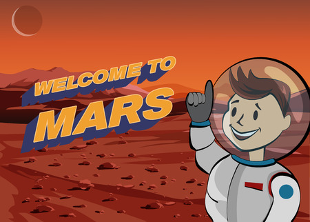 science icons: Human astronaut on Martian landscape. Welcome to Mars.