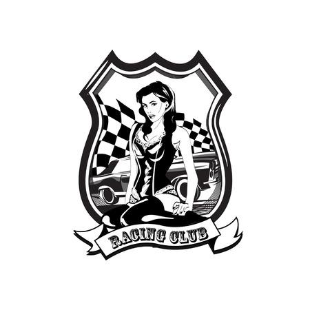 Vintage racing car label wit a woman, retro sport car