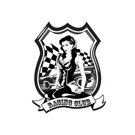 Vintage racing car label wit a woman, retro sport car