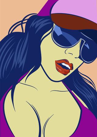 caras de emociones: muchacha de la m�sica bot�n. Bastante joven muchacha urbana del rap. Vectores
