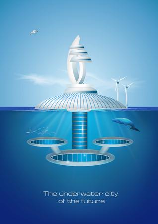 Futurista flotante eco amigable ciudad submarina. Ilustración de vector