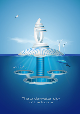 Futuristic floating eco friendly underwater city.