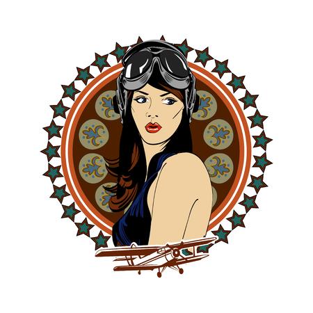 pin up vintage: Pin sulla ragazza aviazione pilota dell'esercito bellezza retrò emblema d'epoca