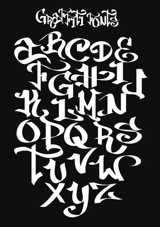 Graffiti font alphabet. Vector illustration