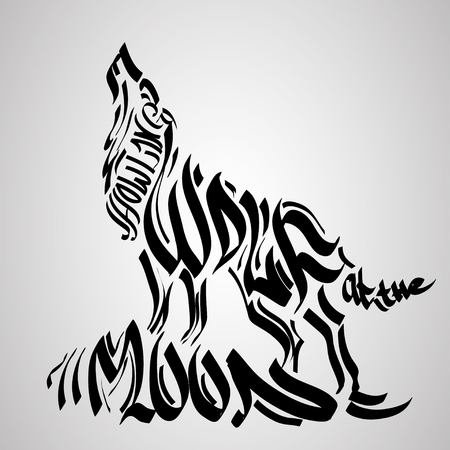 lone: Wolf silhouette with concept text inside. Vector illustration