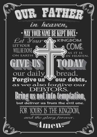 Gebed van de Heer. Letterlijke ontwerp. vector illustratie