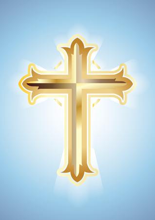 Gold Cross on blue background. Christian Symbol.