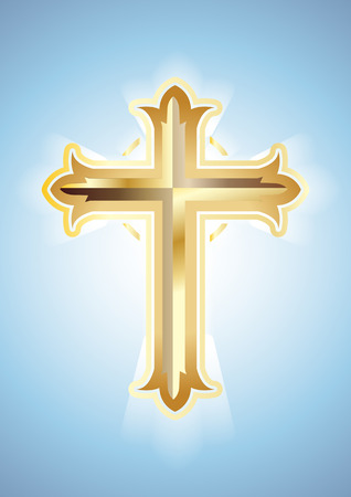 gold cross: Gold Cross on blue background. Christian Symbol.