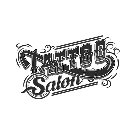 Vector tattoo salon logo  on white background. Cool retro styled vector emblems.