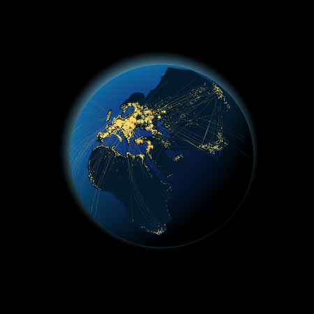 horizon over land: Earth at night with the black continent and light citys