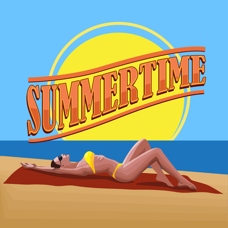 summertime: Woman on the beach. Summertime vector
