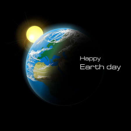 earth from space: Planet Earth in space. Happy Earth day. Vector illustration.