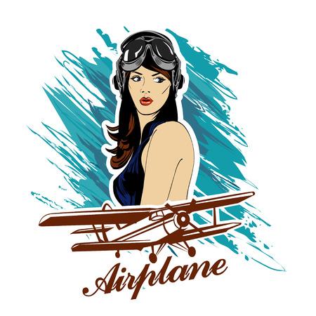Pin up girl pilot aviation army beauty retro vintage emblem