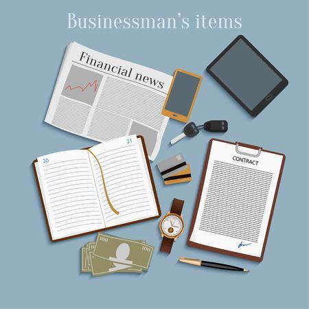 leadership key: Business concept flat design top view. Businessman items Illustration