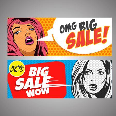 big sales: Pop Art big sales banners. vector illustration Illustration