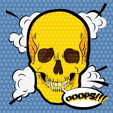 ooops: Human skull icon. Pop art comic style illustration Illustration