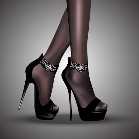 woman legs: Woman legs in fashion  high heels shoes