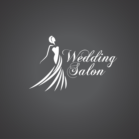 Woman silhouette Wedding salon logo. Illustration