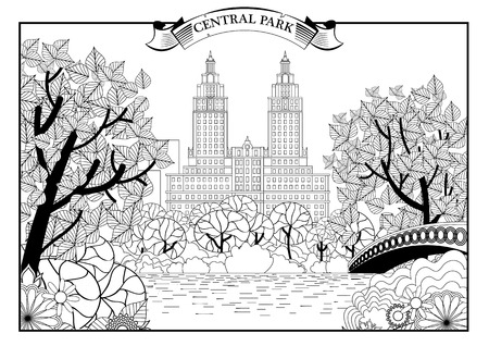 Landscape of Central Park in New York. USA. Black and white graphic.