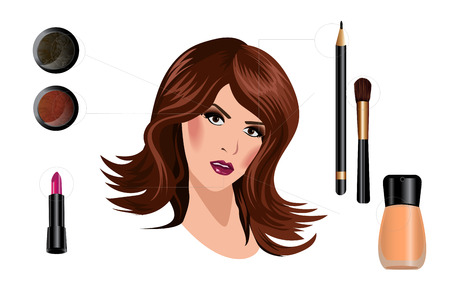 attractive woman: How to make a beautiful woman with makeup. Stock Photo