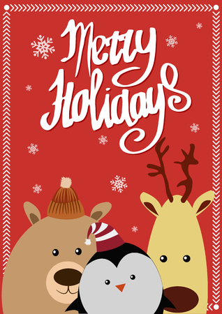 northpole: Merry holidays card with animals. Stock Photo