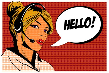 Girl operator call center. Comics style. Stok Fotoğraf