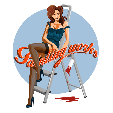 legs stockings: Young woman pin-up with a paint roller.  illustration. Stock Photo