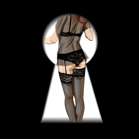 nudity: Woman figure in black lingerie in stockings seen through a key hole