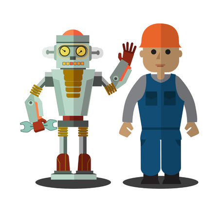 together standing: Robot and man working together standing on a white background. Retro flat style.