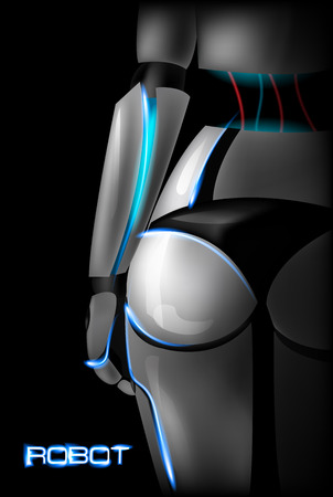 buttocks: Sexy girl cyborg. Back view. Part of the body. Buttocks. Vector illustration