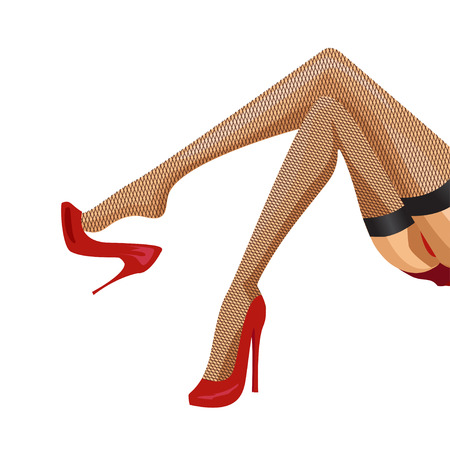 sexy woman legs with shoes isolated on white background