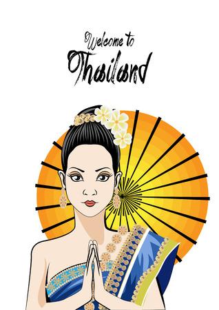 Jeune femme portant robe thai typique, culture de thailande identité Vecteurs