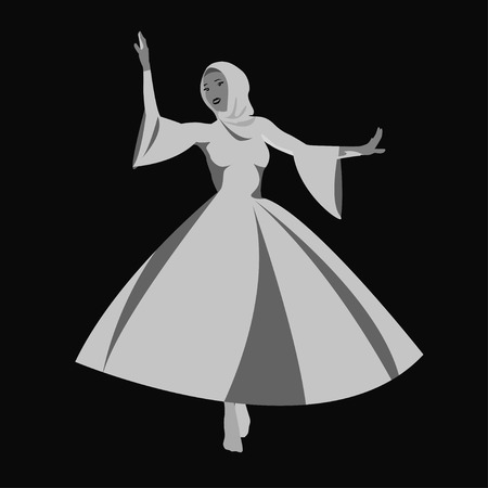 caucasian woman: Vector illustration of Caucasian woman dancing  in the national costumes.