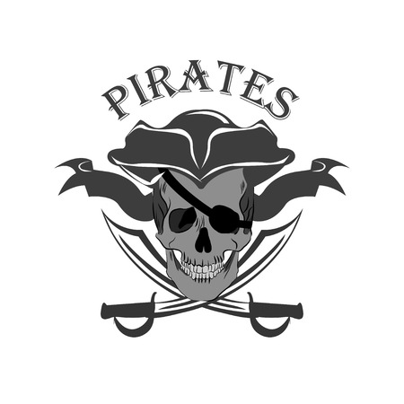 Pirate Skull and crossed sabers badge Иллюстрация