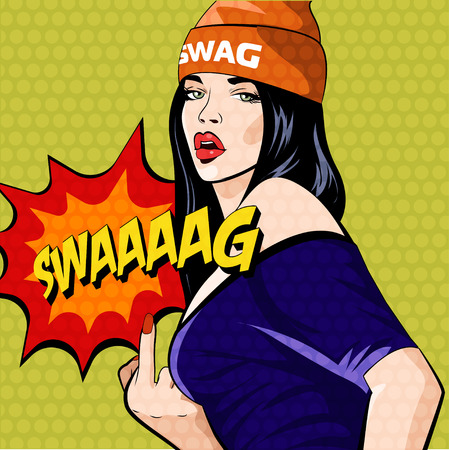 rap music: Rap music girl. Pretty Young Urban Rap Girl. Lady Vector artwork. Pop Art comic style