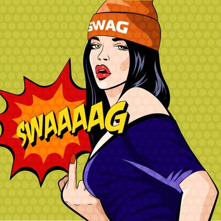 Rap music girl. Pretty Young Urban Rap Girl. Lady Vector artwork. Pop Art comic style