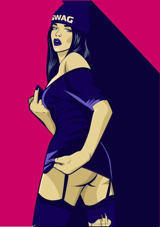 ラップ音楽の女の子。かなり若い都市はラップ少女です。女性のベクトルのアートワーク。ポップなアート コミック スタイル