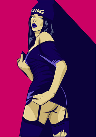 Rap music girl. Pretty Young Urban Rap Girl. Lady Vector artwork. Pop Art comic style