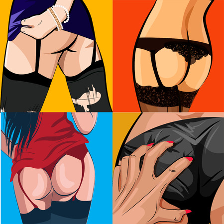 nude young: Sexy women ass set , pop art comic style vector illustration