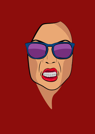 shouting girl: Angry woman face portrait with sunglasses vector illustration