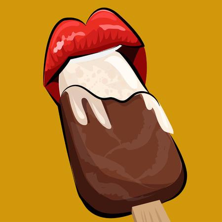 cartoon lips: Ice scream and lips. Pop art style.