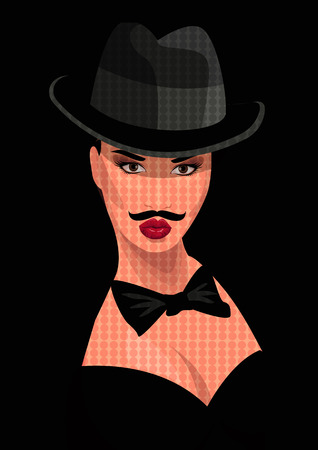 hosiery: Vector illustration: sexy gangster girl in a mans suit with a mustache Illustration
