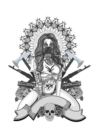 Vector illustration of a beautiful woman. Chicano tattoo style