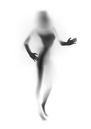 nude women: Blurred sexy woman silhouette, hands.