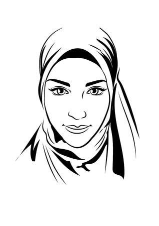 Portret van moslim mooi meisje in gedessineerde hijab, vector illustratie, de hand tekenstijl