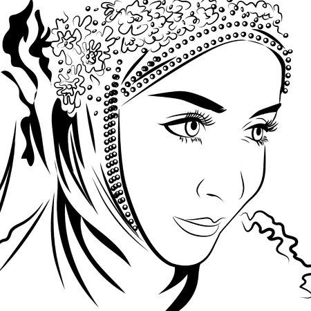 nationalities: Muslim female in hijab hand drawing style. Illustration