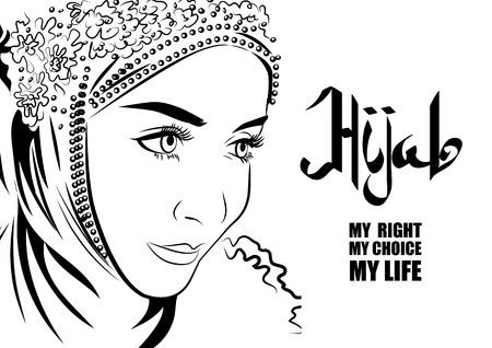 Moslim vrouw in hijab de hand tekenstijl. Arabische kalligrafie. Hijab mijn recht, mijn keuze, mijn leven.