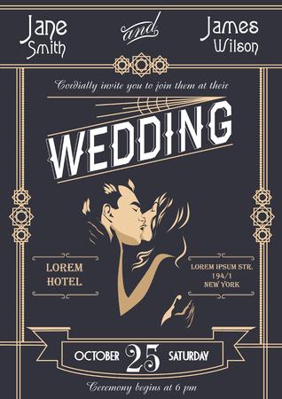 twenties: Art deco wedding invitation card template vector illustration