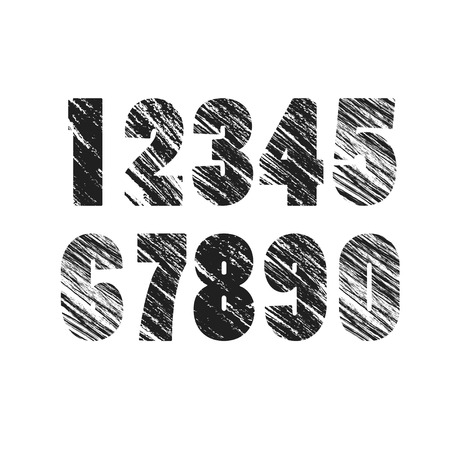 numerology: Grunge Numbers Design Collection. Dirty Texture Numbers. Vector.