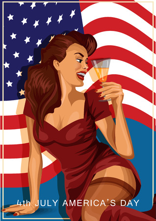 lust: Vector illustration of retro sexy woman holding a glass of champagne with american flag on background, American Independence day
